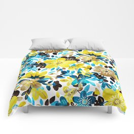Happy Yellow Flower Collage Comforters