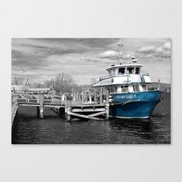 Blue Boat Color Pop  Canvas Print