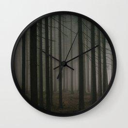 Dark morning forest Wall Clock