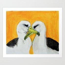 Orange Albatross Pair in Love Art Print