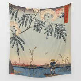 Summer Trees Blossoms and River Ukiyo-e Japanese Art Wall Tapestry