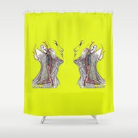 anatomy Shower Curtains featuring Dual anatomy by Antoine