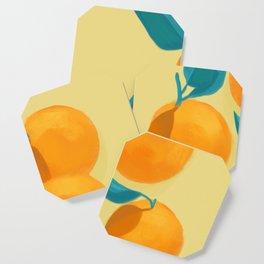 Oranges on yellow Coaster