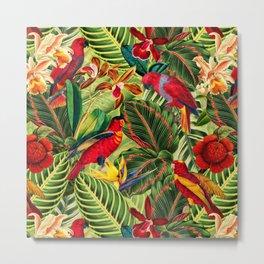 Vintage & Shabby Chic - Midnight Tropical Flower Garden III Metal Print