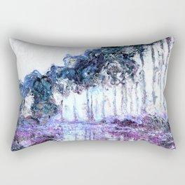 Monet : Poplars Lavender Periwinkle Deep Blue Rectangular Pillow