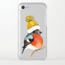 Christmas Bird Bullfinch Clear iPhone Case