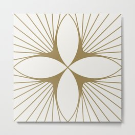 Diamond Series Floral Diamond Gold on White Metal Print
