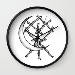 Crescent Moon Rune Binding Wall Clock