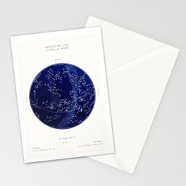 French March Star Map in Deep Navy & Black, Astronomy, Constellation, Celestial Stationery Cards