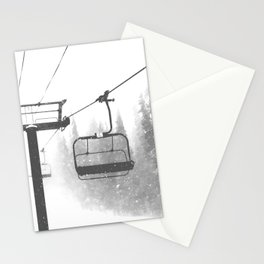 Chairlift Abyss // Black and White Chair Lift Ride to the Top Colorado Mountain Artwork Stationery Cards