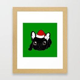 Brindle Frenchie loves Christmas season Framed Art Print