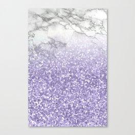 She Sparkles - Violet Purple Glitter Marble Canvas Print