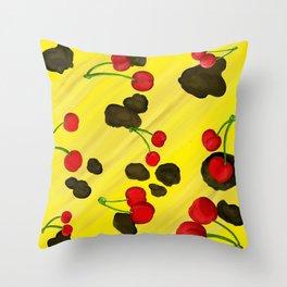 Bananas & Cherries Throw Pillow