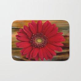 Red Daisy Abstract Bath Mat