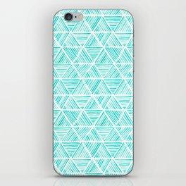 Aquamarine Watercolor Triangular Pattern iPhone Skin