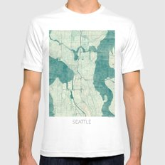 Seattle Map Blue Vintage Mens Fitted Tee White MEDIUM