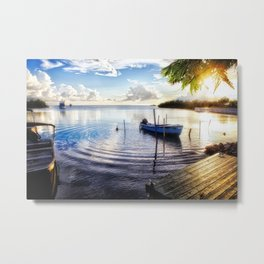 Sunset in a Fishing Village, Puerto Rico Metal Print