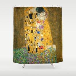The Kiss, Fine Art Print, Gustav Klimt, Wedding Love Romance Gift Shower Curtain