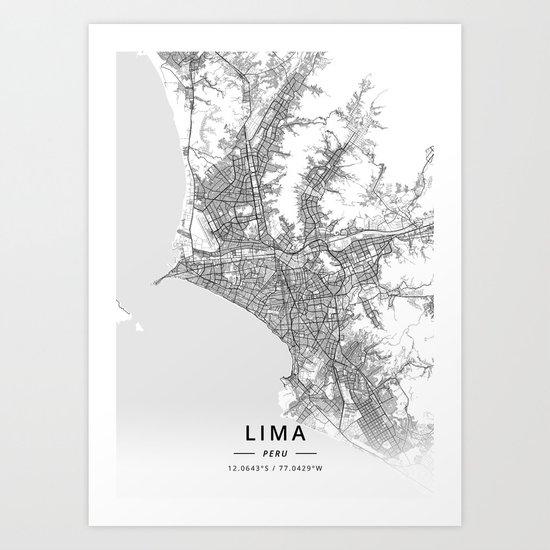 Lima, Peru - Light Map by designermapart