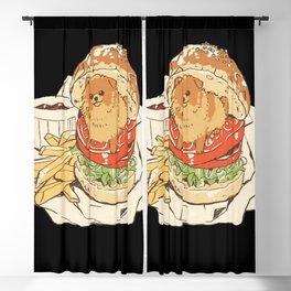 dog in hamburger Blackout Curtain