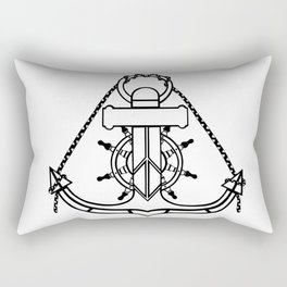 Anchor and Steering Helm [Outline] Rectangular Pillow