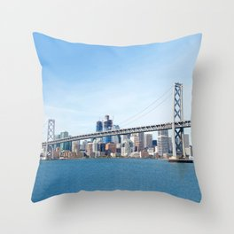 Bay Bridge view with San Francisco in the Background Throw Pillow