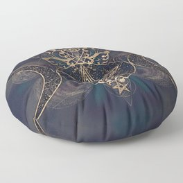 Triple Moon - Triple Goddess Gold and Purples Floor Pillow