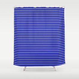 Royal Blue and White Horizontal Stripes Shower Curtain