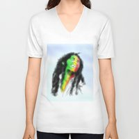 marley V-neck T-shirts featuring Marley in the Sky by Andre Ferraz digital & Fine Art