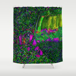 Abstract Wine Glass in Green Shower Curtain