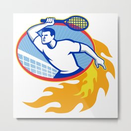 Tennis Player Racquet Retro Metal Print