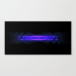 Plasma or high energy force concept. Blue-purple glowing energy waves on black Canvas Print