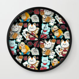 Super Lucky Pattern in Black Wall Clock