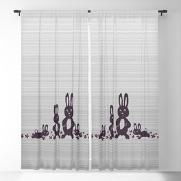 Easter Bunnies Posing For Their Photograph - Grey Black & White Blackout Curtain