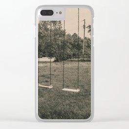 Swingset at the Church, North Dakota 4 Clear iPhone Case