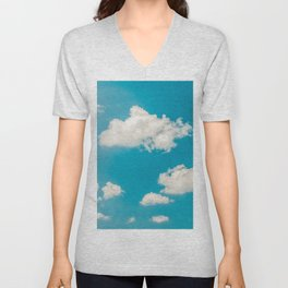 Deep Blue Summer Sky, White Clouds On Turquoise Sky, Heaven Scenery, Wall Art, Poster Decor Unisex V-Neck