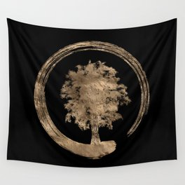 Enso Zen Circle and Tree - Gold on black Wall Tapestry