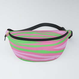 Punky Pink And Green Stripy Animal Print Fanny Pack
