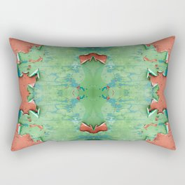 Green brown old cracked paint wall Rectangular Pillow