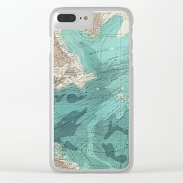 Vintage Green Transatlantic Mapping Clear iPhone Case