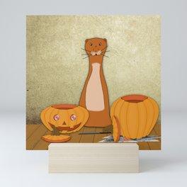 Oliver The Otter Carves a Pumpkin Mini Art Print
