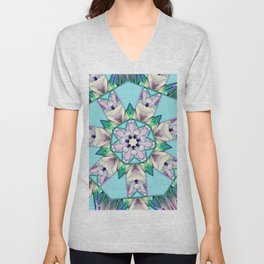 floral star mandala Unisex V-Neck