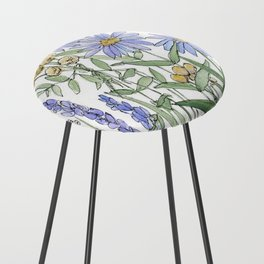 Asters and Wild Flowers Botanical Nature Floral Counter Stool