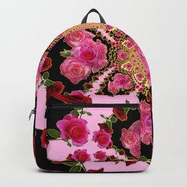 BLACK-PINK GARDEN ROSES MANDALA Backpack