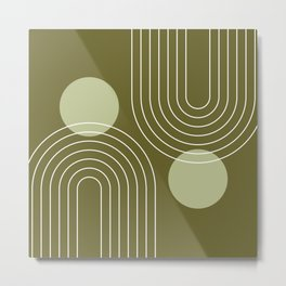 Mid Century Modern Geometric 63 in Olive Green (Rainbow and Sun Abstraction) Metal Print