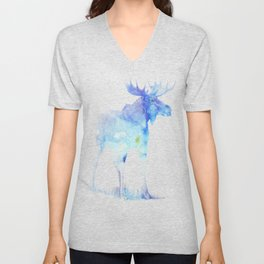 Blue Watercolor Moose Unisex V-Neck