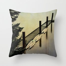 Rowing on the River Throw Pillow