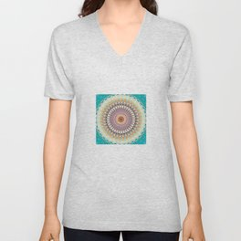 Teal Orange Yellow Boho Mandala Unisex V-Neck