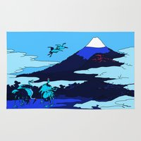 hokusai Area & Throw Rugs featuring Hokusai by Nicky Hope