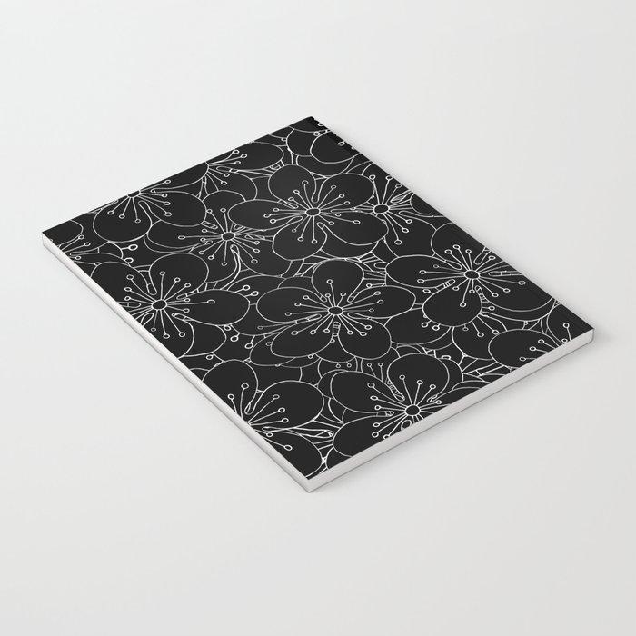 Cherry Blossom Black on White - In Memory of Mackenzie Notebook